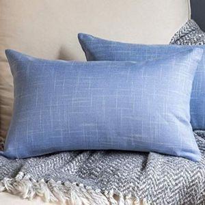 ⭐NEW⭐ - Baby Blue Linen Look Lumbar Pillow - 12X20
